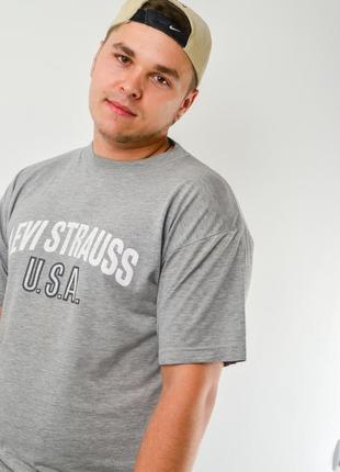 Levis меланжевая серая футболка с логотипом в винтажном стиле