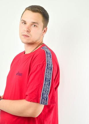 Asics красная oversize футболка с полосами - лампасами, овесай...
