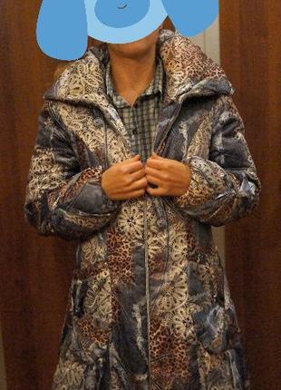 Женская длинная куртка на синтепоне пальто пуховик 48 размер