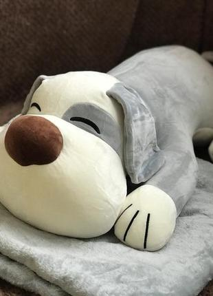Плед детский + мягкая игрушка + подушка собачка