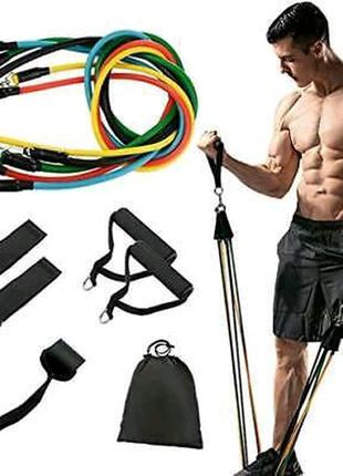 Набор трубчатых эспандеров для фитнеса 5 штук + Чехол