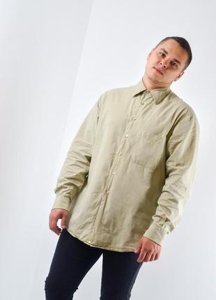 Ermenegildo zegna брендовая светло-бежевая винтажная рубашка, ...