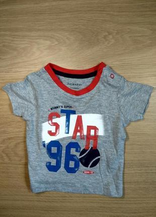 Футболка для хлопчика 062 см (2-3 months) сірий star 96 primark