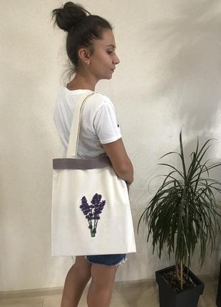 Эко- сумка для покупок, эко-сумка / шоппер с вышивкой ручной р...