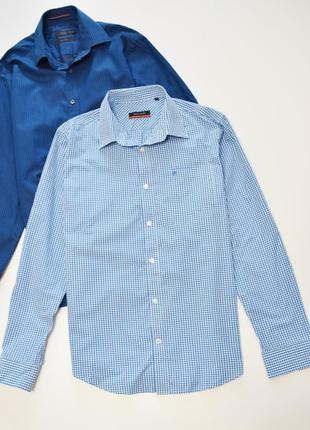 Мужская рубашка в клетку длинный рукав, pierre cardin