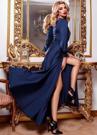 Длинное вечернее платье нарядное  шелковое макси в пол синее с...