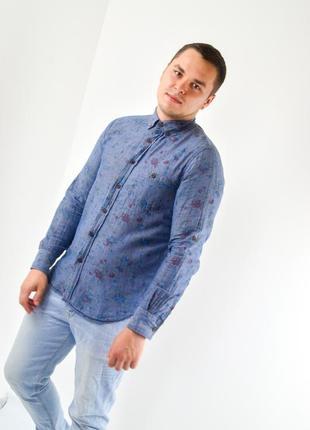Акция pull&bear синяя облегающая повседневная рубашка с цветоч...