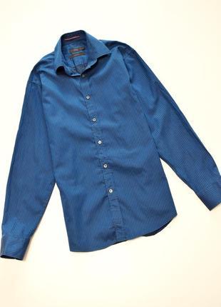 Мужская рубашка в мелкую полосу длинный рукав, next, 100% хлопок
