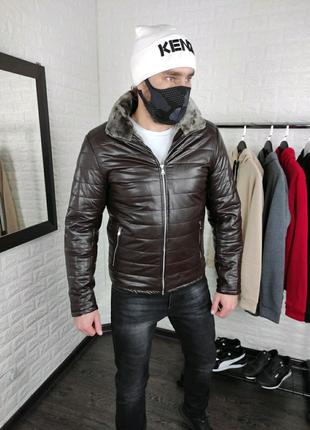Мужская кожаная коричневая куртка на меху
