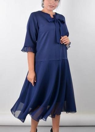 Размеры 50-64! платье алисия синее, большой размер от производ...