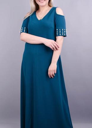 Размеры 50-58! платье в пол диана изумруд, большой размер от п...
