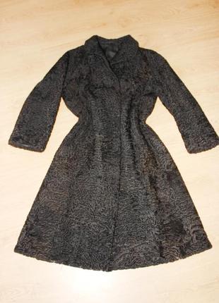 Шуба каракуль каракульча натуральный мех черная