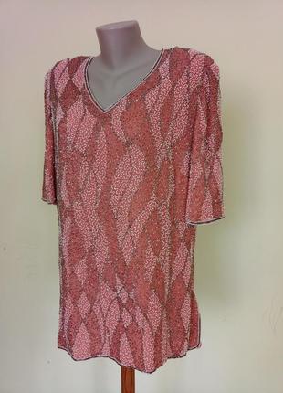 Шикарная английская блуза шелк бисер винтаж