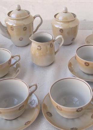"""Сервиз чайный на 6 персон """"одуванчик"""" фарфор барановка чайник,..."""