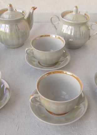 Перламутровый чайный сервиз на 6 персон фарфор городница новый