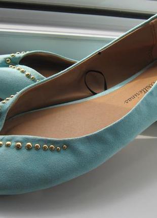 Эффектные летние балетки туфли бирюзовые 41 размер