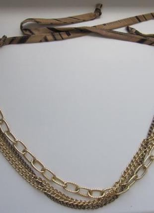 Колье на завязках шнурках золотые цепи