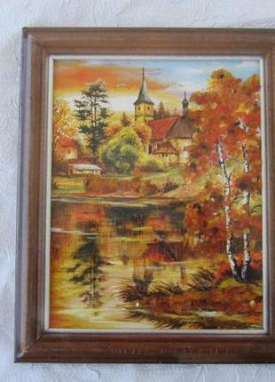 Картина пейзаж осень с натуральным янтарем