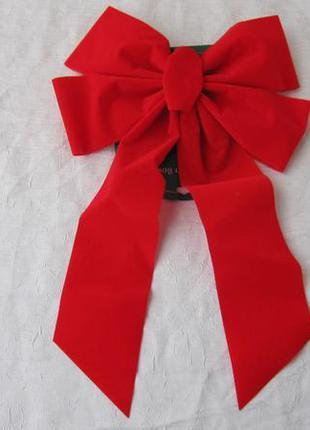 Красный бархатный бант на ёлку декор новогодний украшение