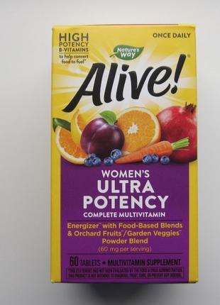 Мегаэффективные мультивитамины Alive для женщин витамины 60шт. на