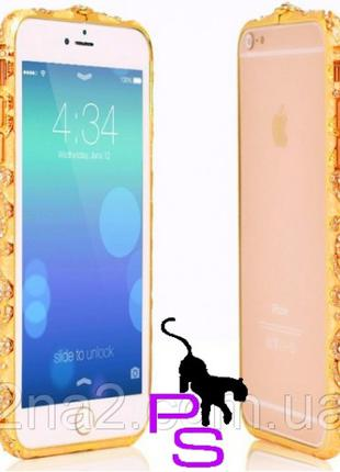 Позолоченный Стальной Бампер Для Iphone Айфона 5, 5s Со Стразами