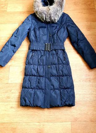 Зимний пуховик куртка 46 пух перо, нат.опушка