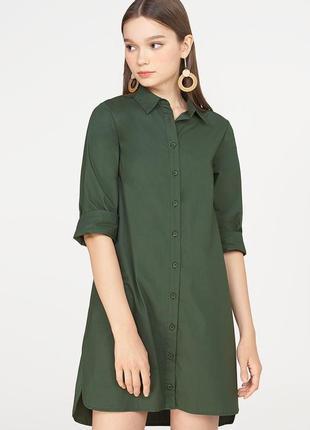 Вискозное платье рубашка цвета хаки 16/50-52 размера