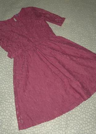 Красивое кружевное платье 9-10 лет