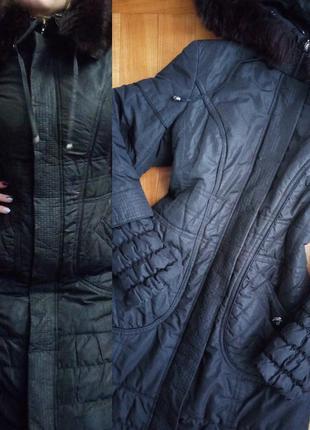Зимовий плащ/ зимний плащ/ куртка/ с мехом/ удлиненный/ пальто