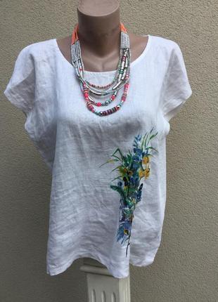 Комбинирован.блуза,белая рубаха,принт-вышивка цветы,лен100%,бо...