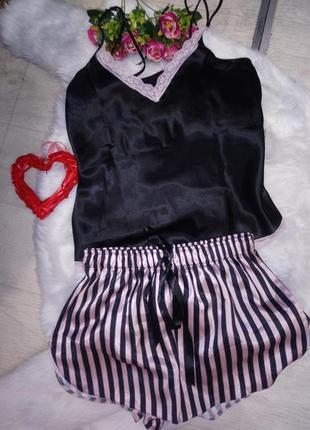 Шёлковая пижама шорты и майка женская шёлковая пижамка турция