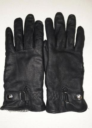 Кожаные перчатки на натуральном меху