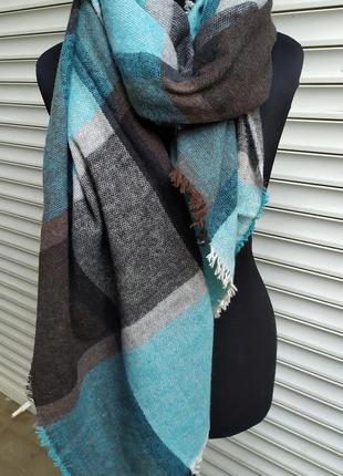 Теплый шарф плед клетка бирюза морская волна