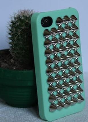 Чехол пластиковый Шипы Бирюза + bronze для IPhone 5