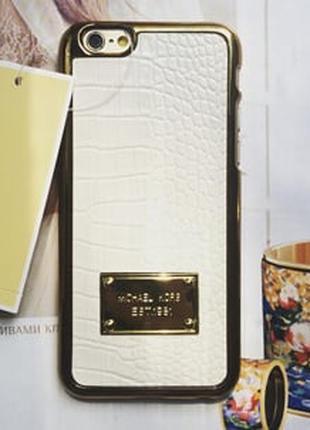 Пластиковый чехол Michael Kors Crocodile White Белый для IPhone 5
