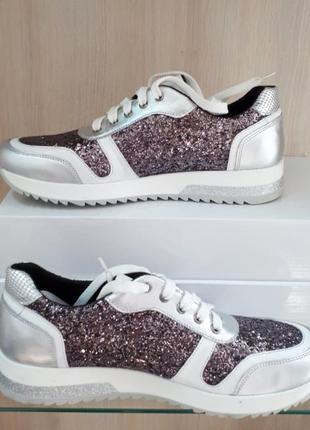 Кожаные женские серебристые кроссовки с блестящими вставками н...
