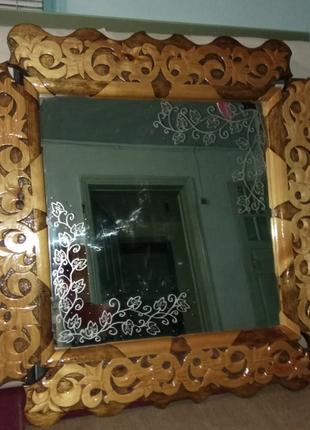 Резное зеркало ручной работы из дерева