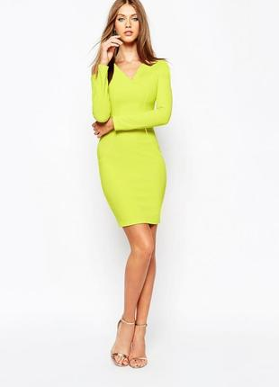 Missguided. платье футляр в популярном лаймовом цвете. наш раз...