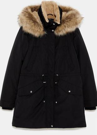 Теплая зимняя куртка парка зара zara sorona dupont