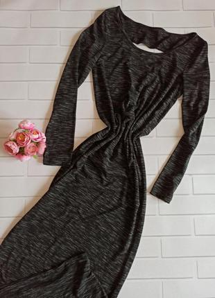 Платье меланжевое длинное, платье в пол с красивой спинкой