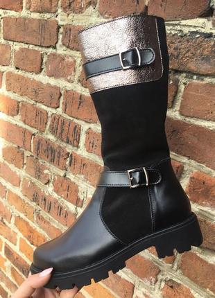 Кожаные замшевые высокие зимние сапоги на овчине шкіряні черевики