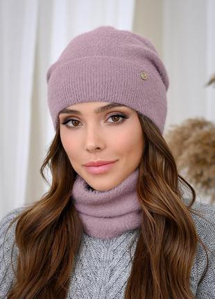 Набор женский шапка и бафф