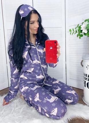 Пижама на пуговицах с оленями