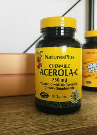 Ацерола-С Nature's Plus 250мг 90 жувальних таблеток