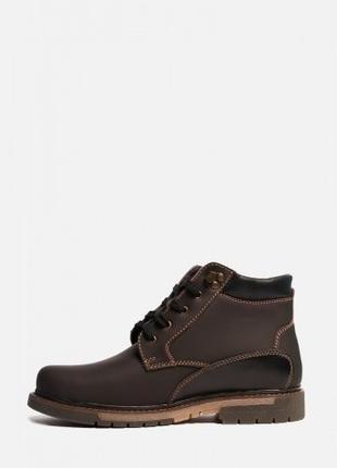 Зимние мужские кожаные ботинки на нескользящей подошве