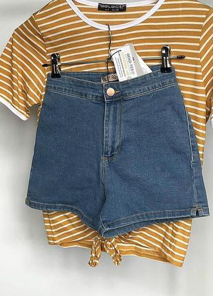 Обалденные джинсовые шорты с высокой посадкой denim co