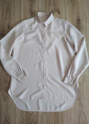 Пудрово розовая рубашка в полоску, 💯% шелк