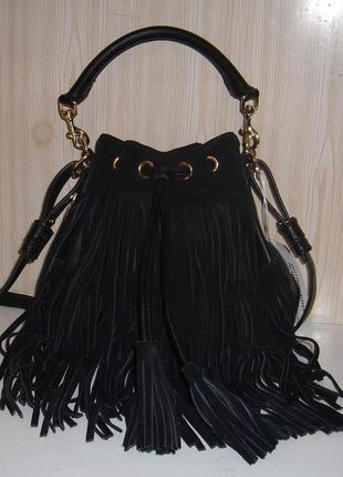 Сумочка-мешок с замшевой бахромой