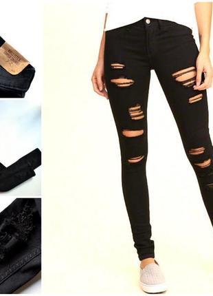 Крутые черные джинсы hollister super-skinny с рваностями оригинал