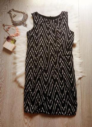 Черное платье в белый геометрический принт в полоску беременны...